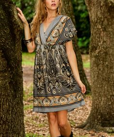 Look what I found on #zulily! Charcoal Paisley Surplice Dress #zulilyfinds