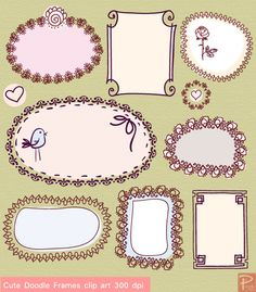 Cute Doodle Frames Clipart set with Digital Paper pack -