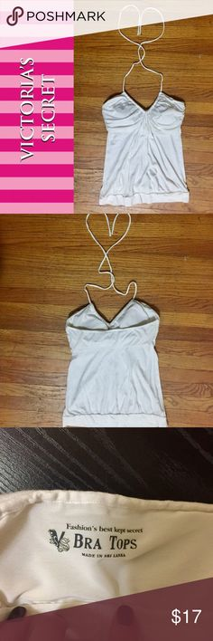 Sexy Built-In Bra Halter Top Super sexy and fun halter top. Has a built in elastic band bra with removable pads. Super flattering. Perfect for summer dates. Bright white, EUC. Victoria's Secret Tops Tank Tops