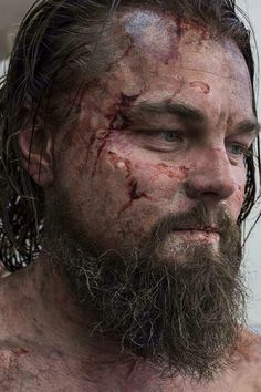 This image is from behind the scenes of the revenant. The facial postiche complements the over all look adding to the rugged and injured look. This is done to a very high standard and you can not see the silk mesh blending with the skin.