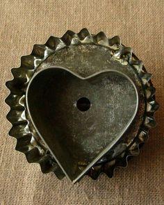 Antique tin heart cookie cutter