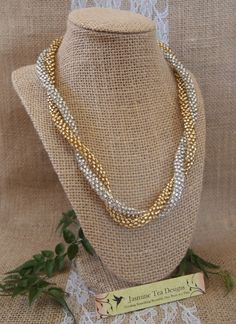Silver and Gold Beaded Necklace Duo Silver by JasmineTeaDesigns