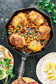 Pan Seared Chicken paired with spicy harissa chickpeas. Simple yet packed with flavor!