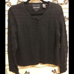 Michael Simon black cardigan sweater Black cardigan with sequined details on front and on the sleeves as show on picture. Has six buttons to close up. Never use and it's in excellent condition. Michael Simon Sweaters Cardigans