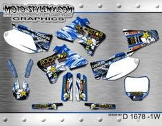 Moto-StyleMX graphics kit as shown. Yamaha Yzf, Custom Design, Decals, Graphics, Motorbikes, Tags, Graphic Design, Sticker, Decal