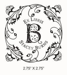 Square Floral Frame Monogram Ex Libris Custom Ex Libris Rubber Stamp F05