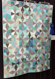 Beautiful grey & turquoise quilt
