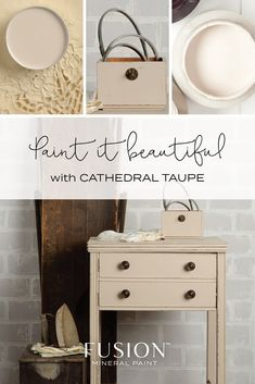 Cathedral Taupe from Fusion Mineral Paint -Offering the slightest hint of a soft pink undertone, this neutral taupe goes with virtually anything! The best warm neutral furniture paint Refurbished Furniture, Colorful Furniture, Paint Furniture, Furniture Projects, Furniture Makeover, Furniture Refinishing, Diy Projects, Taupe Paint, Chalk Paint Projects