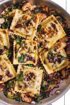 Jump to Recipe Print RecipeItalian Ravioli with Spinach, Artichokes, Capers, Sun-Dried Tomatoes. The vegetables are sautéed in garlic and olive oil.   Meatless, refreshing, Mediterranean style pasta recipe that doesn't need any meat – this meal will keep you full! For this recipe, I used store-bought ravioli stuffed with pesto.  You can also use cheese stuffed ravioli,...Read More