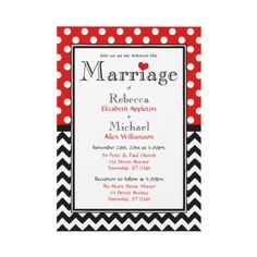 Polka Dot Red & Chevron Wedding Invitations
