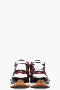 KRISVANASSCHE Burgundy Leather Tri-Color Sneakers