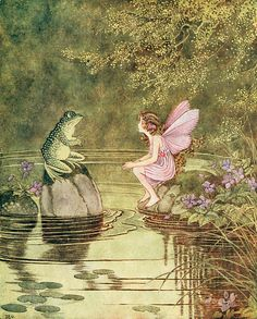 Buy your Frog and Fairy Vintage Artwork by Vintage Artwork here. A lovely fairy and friendly frog have an enchanting conversation on the pond on the Frog and Fairy Vintage Artwork. Kunst Inspo, Vintage Fairies, Fantasy Kunst, Vintage Artwork, Flower Fairies, Fairy Art, Magic Fairy, Magic Forest, Children's Book Illustration