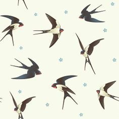 WallsNeedLove Barn Swallows Self-Adhesive Wallpaper