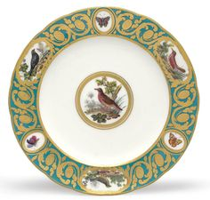 A SEVRES PORCELAIN TURQUOISE-GROUND ORINTHOLOGICAL PLATE FROM A SERVICE MADE FOR THE COMTE D'ARTOIS (ASSIETTE UNIE) CIRCA 1782 Painted with vignettes of birds in landscape, the three on the border alternate with butterflies, the back inscribed in French with the names of the birds