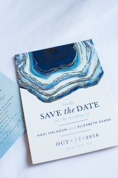 Blue geode inspired wedding invitation: Blue Geode Wedding at The Foundry New York