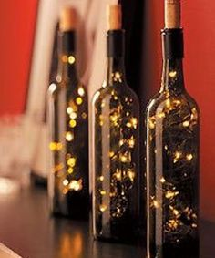 DIY Christmas Light Wine Bottles
