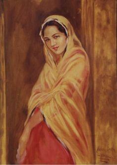 Punjabi Indian Artwork, Indian Art Paintings, Classic Paintings, Beautiful Paintings, Oil Paintings, Indian Women Painting, Indian Artist, India Painting, Woman Painting
