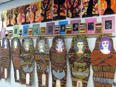 3rd grade art show display.  Keeping the mummies in mind for our unit on the great pyramids.