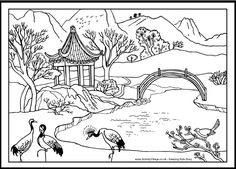 Chinese Coloring Page Bridge And Cranes