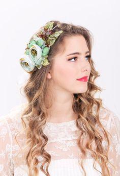 seafoam floral crown, bridal flower hair crown, woodland wedding, sea foam flower, milinery flower. via Etsy.