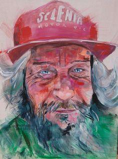 Evelio.  Acrilico sobre tabla de madera 70 x 80 cm. Historia en sus ojos.