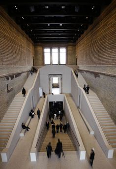 David Chipperfield: An interior view of the staircase of the historical Neue Museum in Berlin Museum Architecture, Stairs Architecture, Architecture Details, Interior Architecture, David Chipperfield Architects, Berlin Museum, Going For Gold, Design Museum, Arquitetura