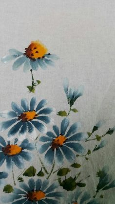 Hand Painted Fabric, One Stroke Painting, Chrysanthemum, Fabric Painting, Landscape Paintings, Hand Embroidery, Printing On Fabric, Projects To Try, Doodles