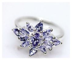 Tanzanite Ring 925 Sterling Silver Vintage Jewelry by OurBoudoir, $140.00