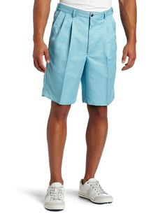 Classic fit pleat front poly gabardine casual short