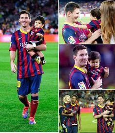 Família Messi ilumina o Camp Nou : Olá pessoal,  Hoje o Barcelona jogou contra o Real Sociedad pelo campeonato Espanhol, e venceu por 4 x 1, Leo marcou um dos gols da partida e muito a contra gosto foi substituido no final do segundo tempo rs. Mas nada disto teve importância, quando na verdade fomos premiados com a visita ilustre de Thiago Messi ao Camp Nou. OMG, foi o maior presente que eu ganhei nos últimos dias, nem a viagem a Disney me fez tão feliz kkkkkkkk