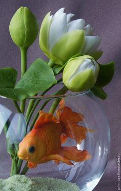 Купить Золотая рыбка для загадывания желаний (холодный фарфор) - золотой, керамическая флористика, Холодный фарфор