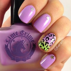 @limecrimemakeup #lavendairy is awesome! Accent nail also with #limecrime #pastelchio & leopard print  - @keiran87