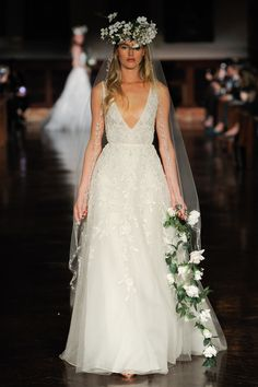 These are the wedding dress trends of Meghan Markle mania, royal wedding, bridal jumpsuits, sexy v-neck wedding dresses, and more. Reem Acra Wedding Dress, Reem Acra Bridal, V Neck Wedding Dress, Top Wedding Dresses, Stunning Wedding Dresses, Wedding Dress Trends, Beautiful Gowns, Bridal Gowns, Wedding Gowns