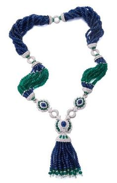 David Webb Cross River Necklace - Cabochon Emeralds and Sapphires, Emerald and Sapphire Beads, Briolette- and Brilliant-Cut Diamonds, Gold, and Platinum Tassel Jewelry, Gems Jewelry, High Jewelry, Gemstone Jewelry, Jewelry Ideas, Beaded Jewelry, Diamond Pendant Necklace, Necklace Set, Tassel Necklace
