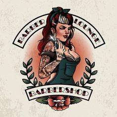 Pin up girl barbershop Pin Up Girl Tattoo, Pin Up Tattoos, Badge Design, Logo Design, Design Design, Barber Logo, Barber Tattoo, Hair Salon Names, Rockabilly Art