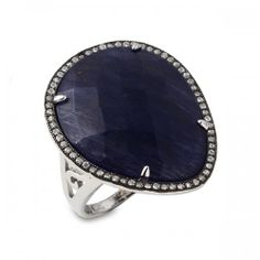 Blue Quartz and CZ Ring, set in sterling silver