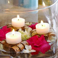 Floating Wine Corks and Candles Centerpiece