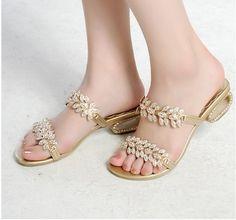 Sweet elegant  diamond luxury  low sandals.  So pretty!