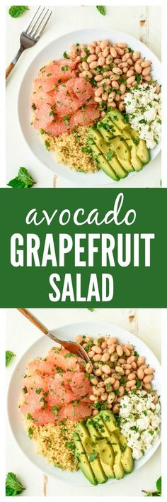 Avocado Grapefruit Salad with White Beans and Feta. A bright, beautiful salad recipe that's perfect for a healthy lunch, light dinner, or side. www.wellplated.com