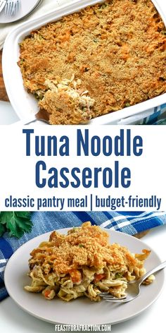 Tuna Noodle Casserole is a classic dish made from pantry ingredients making it a budget-friendly dinner that's delicious. Just like mom used to make! Top with breadcrumbs or crushed potato chips for a deliciously crunchy topping. Less than $8 total for 6 servings or $1.33 per serving! #freezermeal #budgetmeal #pantrychallenge #tunacasserole Pork Recipes For Dinner, Yummy Pasta Recipes, Grilling Recipes, Seafood Recipes, Tuna Noodle Casserole Recipe, Easy Casserole Recipes, Budget Freezer Meals, Easy Meals, Potato Chips
