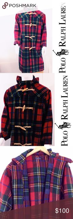 Vintage Tartan Plaid Long Coat Very rare vintage coat from Ralph Lauren. Measurements are approximate: 54 inch chest, 49 inches from top of shoulder to bottom of hem, 23 inches from top of shoulder to bottom of sleeve, 21 inches across back. Toggle closure with button detail at sleeves, attached hood. Great condition, with light signs of wear on fabric and one toggle is frayed (see photo). Wool construction. Polo by Ralph Lauren Jackets & Coats