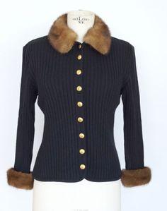 Sweater detachable Mink collar mink cuffs gold buttons cardigan M