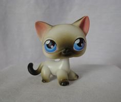 LITTLEST PET SHOP (LPS) #5 Black/White/Pink Short Hair SIAMESE Cat w/Blue Eyes #Hasbro