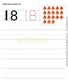 Number Writing Worksheet 18 - math Worksheets - preschool Worksheets