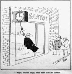 OĞUZ TOPOĞLU : çaresiz saatçi 1975 nostaljik eski karikatürler