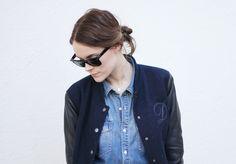letter jacket / jean shirt