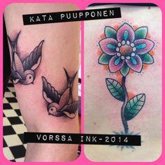 https://www.facebook.com/VorssaInk, http://tattoosbykata.blogspot.fi, #tattoo #tatuointi #katapuupponen #vorssaink #forssa #finland #traditionaltattoo #suomi #oldschool #swallow #sparrow #flower