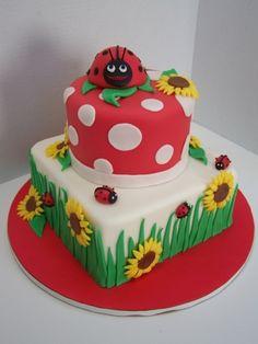 Bug Birthday Cakes, Elegant Birthday Cakes, Pretty Cakes, Cute Cakes, Fondant Cakes, Cupcake Cakes, Ladybug Cakes, Ladybug Party, Sunflower Cakes
