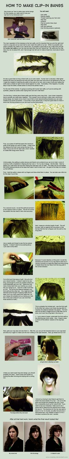 How to Make Clip-in Bangs by *iyou-cosplay on deviantART not if they don't make your color. Epic Cosplay, Cosplay Diy, Halloween Cosplay, Costume Wigs, Costume Makeup, Costumes, Costume Tutorial, Cosplay Tutorial, Wig Making