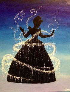 Disney Princess Cinderella Silhouette by ThatsTotallyTara on Etsy Disney Princess Bild, Disney Princess Paintings, Disney Paintings, Princess Aurora, Aladdin Princess, Princess Bubblegum, Flame Princess, Disney Artwork, Princess Rapunzel